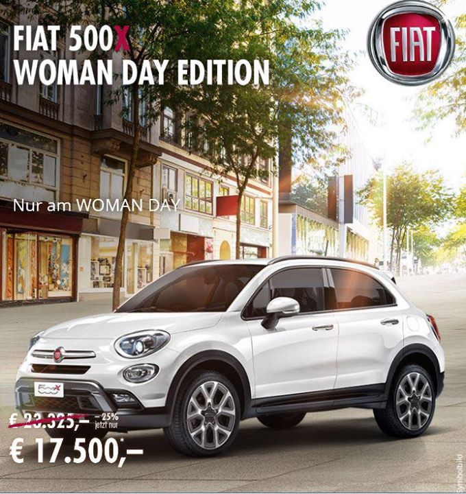 woman day edition fiat 500x mit 25 einen von 40 vorr tigen fiat 500x sichern zum. Black Bedroom Furniture Sets. Home Design Ideas